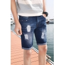 Mens Summer Trendy Ripped Detail Rolled Cuff Classic Fit Blue Denim Shorts