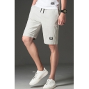Guys Simple Plain Logo Patched Drawstring Waist Slim Fit Straight Shorts
