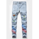 Summer Hip Hop Style Spray Printed Stretch Fit Light Blue Ripped Jeans for Men