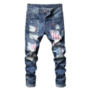 Mens Hip Hop Style Cool Spray Flag Printed Light Blue Ripped Jeans
