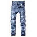 Men's New Stylish Destroyed Ripped Blue Stretch Slim Fitted Jeans