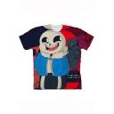 New Trendy Comic Colorful Character Skull Printed Short Sleeve T-Shirt