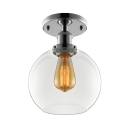 Industrial Flush Mount Ceiling Light with 8 Inch Wide Globe Clear Glass Shade in Sliver Finish
