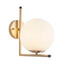 White Glass Globe Wall Light 1-Light Nordic Style Wall Mount Light in Brass for Living Room