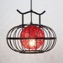 Lantern Pendant Light with Green/Red/Yellow Rattan Shade Asian Lighting Fixture for Living Room