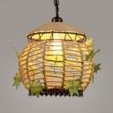 Beige Globe Pendant Light Single Light Vintage Rope Pendant Lamp for Living Room