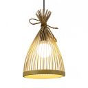Beige/Black Conical Pendant Lighting 1-Light Lodge Style Bamboo Hanging Ceiling Lamp