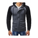Men's Fashionable Color Block Long Sleeve Zip Up Slim Fit Hoodie with Pockets