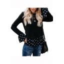 Stylish Polka Dot Print Ruffle Hem Patched Round Neck Long Sleeve c T-Shirt