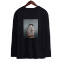 Aesthetics New Trendy Floral Figure Printed Round Neck Long Sleeve Unisex Pullover T-Shirt