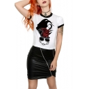 Cool Hand Chain Printed Contrast Edge Short Sleeve White Slim Fit Cropped T-Shirt