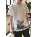 Lovely Cat Pattern Short Sleeve Men's Fashion White Casual T-Shirt