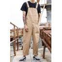 Men's Vintage Solid Color Large Pocket Front Loose Casual Work Bib Overalls
