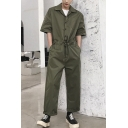 Men's Summer Fashion Solid Color Short Sleeve Lapel Collar Drawstring Waist Suits One Piece Coveralls