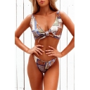Vintage Tribal Print Knotted Front V-Neck Sleeveless High Waist Bottom Bikini