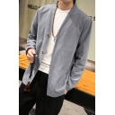 Mens Spring Solid Button Closure Long Sleeves Chinese Style Linen Shirt Coat