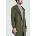 Mens Cotton Drawstring Hooded Solid Color Long Sleeve Casual Sport Longline Cardigan Coat