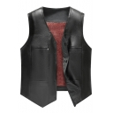 New Stylish Simple Plain Press-Stud Button Down Warm Thicken Black Leather Vest