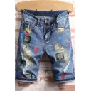 Guys Street Style Cool Letter Embroidered Ripped Detail Rolled-Cuff Light Blue Fitted Denim Shorts