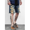 Guys Simple Plain Trendy Destroyed Ripped Detail Loose Casual Jeans Denim Shorts