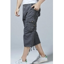 Mens New Trendy Simple Plain Multi-Pocket Tied-Cuff Casual Loose Cropped Cargo Pants