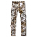 New Stylish Cool Snake Printed Stretch Slim Fit Men's Jeans
