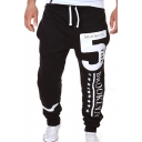 New Stylish Cool Number 5 Letter BROOKLYN Stars Print Drawstring Waist Casual Cotton Sport Pants Sweatpants
