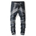 Retro Stripe Printed Bleach Washed Men's Regular Fit Distressed Ripped Grey Jeans