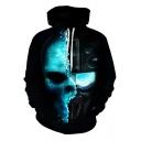 New Stylish Cool Unique Skull Mask Printed Black Drawstring Hoodie