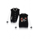 New Album SPEAK YOURSELF Letter Floral Printed Stand Collar Button Down Baseball Jacket