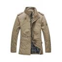 New Trendy Long Sleeve Stand Collar Epaulets Zip Up Khaki Business Casual Coat