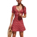 Summer V-Neck Short Sleeves Allover Floral Pattern Bow Front Mini A-Line Dress