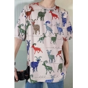 Summer Fashion Allover Antelope Print Loose Relaxed Cotton T-Shirt