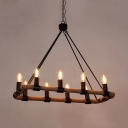 Industrial Round Island Ceiling Light 10 Lights Rope Pendant Lights with 31.5