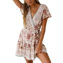 Women's Holiday Boho Style Floral Printed V-Neck Short Sleeve Tied Waist Pleated Mini A-Line Dress