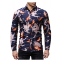 Fashion 3D Digital Lightning Feather Printed Long Sleeve Fitted Button-Up Navy Shirt for Men