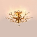 Gold Semi Flush Light with Clear/Amber Crystal Decoration 4/5-Light Vintage Style Ceiling Lighting for Living Room