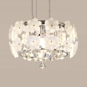 White Floral Flush Mounted Light 6-Light Modern Style Clear Crystal Ceiling Lighting for Bedroom
