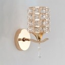 Modern Style Wall Lighting with Cylindrical Shade 1-Light Clear Crystal Sconce Light, H8.5