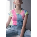 Unique Colorful Tie Dye Printed Round Neck Short Sleeve Cropped T-Shirt