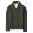 Stylish Basic Simple Plain Turn-Down Collar V-Neck Mens Casual Sweater
