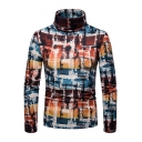Unique Fashion Colorful Plaid Print High Neck Warm Basic Fitted Pullover Sweater for Men