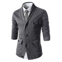 Men's New Stylish Simple Plain Long Sleeve Three-Pocket Button Down Fitted Coat Cardigan