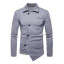 Men's Turn-Down Collar Solid Color Fashion Irregular Button Down Asymmetrical Hem Fitted Sweatshirt Cardigan