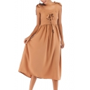 Trendy Bow-Tied Straps Lace-Up Camel Midi A-Line Chiffon Dress