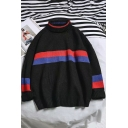 Mens Trendy High Neck Striped Long Sleeve Loose Pullover Sweater
