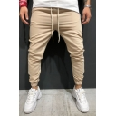 Guys New Popular Simple Plain Drawstring Waist Gathered Cuff Cotton Pencil Pants