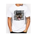 Street Style Cartoon Dog Letter Printed Short Sleeve Unisex Loose White T-Shirt