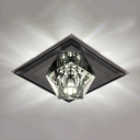 Modern Square Canopy Flush Ceiling Lighting Black/Amber/Clear Crystal Flush Light for Foyer