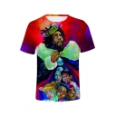 American Rapper 3D Figure Printed Short Sleeves Casual Red T-Shirt